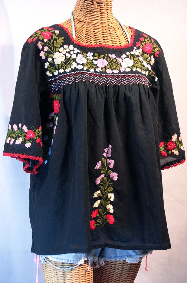 Mexican Peasant Blouse Top Hand Embroidered La by Sirenology. Looooove this top. Very comfy and fast shipping!