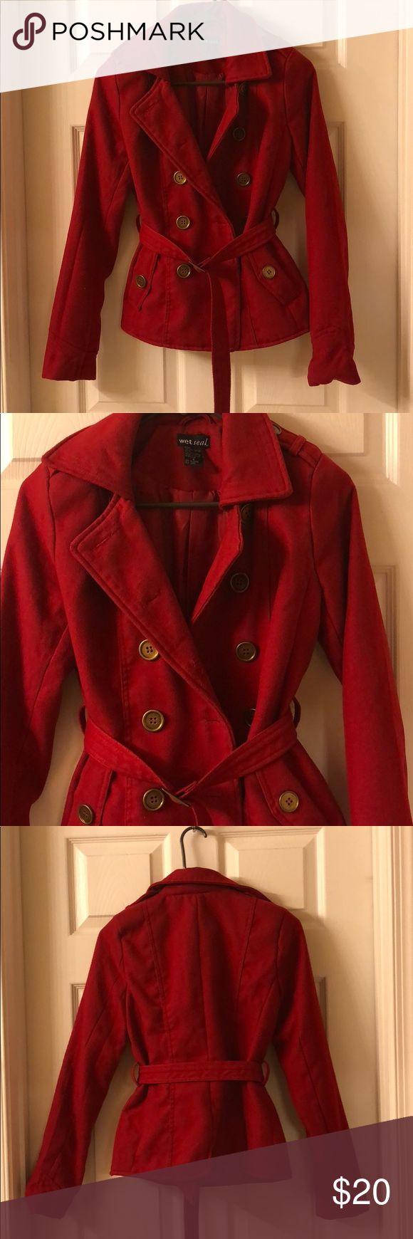 Wet seal Red Pea coat Red Pea coat in great condition Wet Seal Jackets & Coats Pea Coats