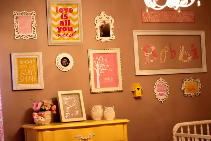 Bright, playful gallery wall in this pink and yellow nursery! #nursery #gallerywall: Bobby Pink, Nurseries Wall, Art Decoration, Wall Color, Good Idea, Projects Nurseries, Nurseries Idea, Yellow Nurseries, Nurseries Galleries