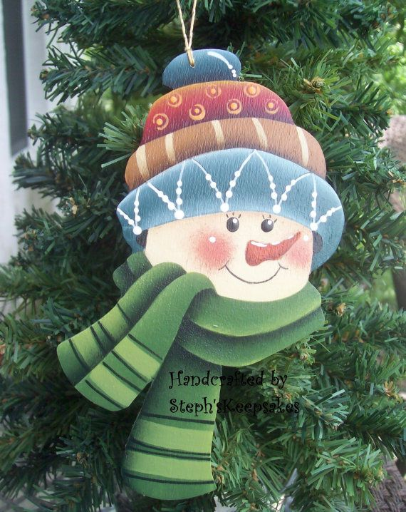 Wooden Hand Painted Snowman Ornament by stephskeepsakes on Etsy, $7.25