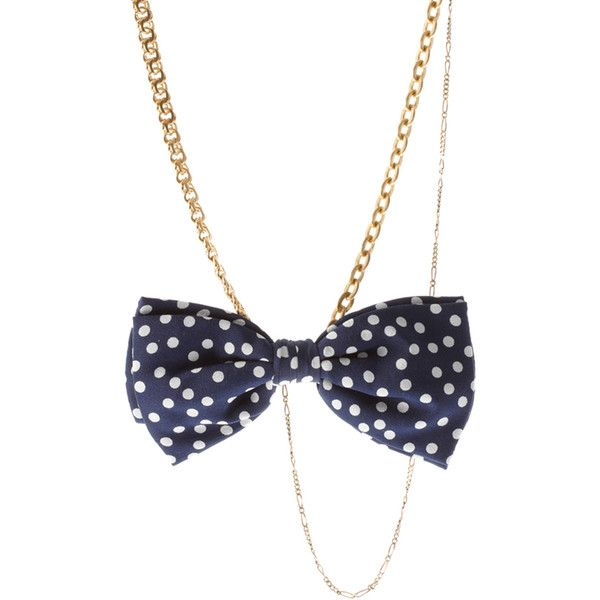 Bing Bang & Timo.Weiland Brass And Silk Polka Dot Multi Way Necklace ($74) found on Polyvore