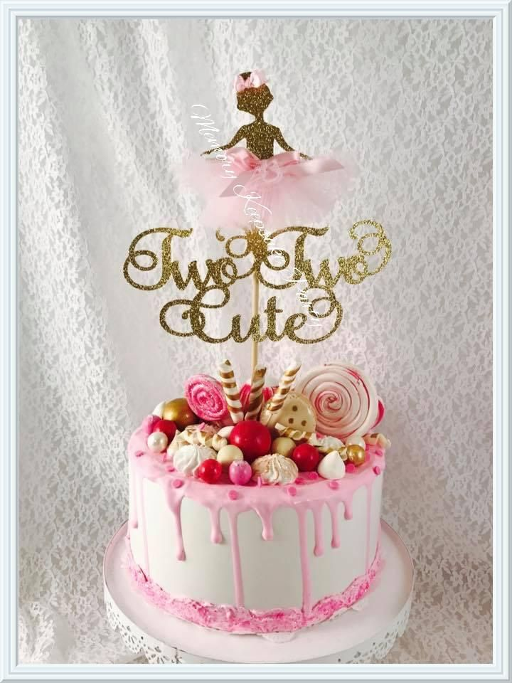 Ballerina Two Two Cute Cake Topper 2nd Birthday Party For Girl