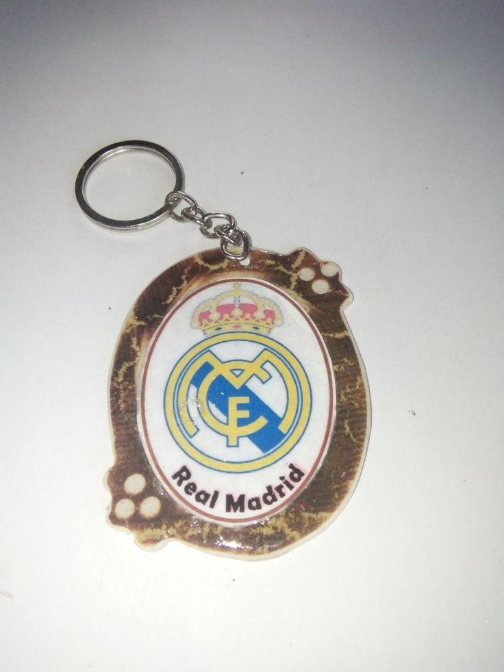 Gantungan Kunci Paralon Bakar Logo Klub Sepakbola REAL MADRID