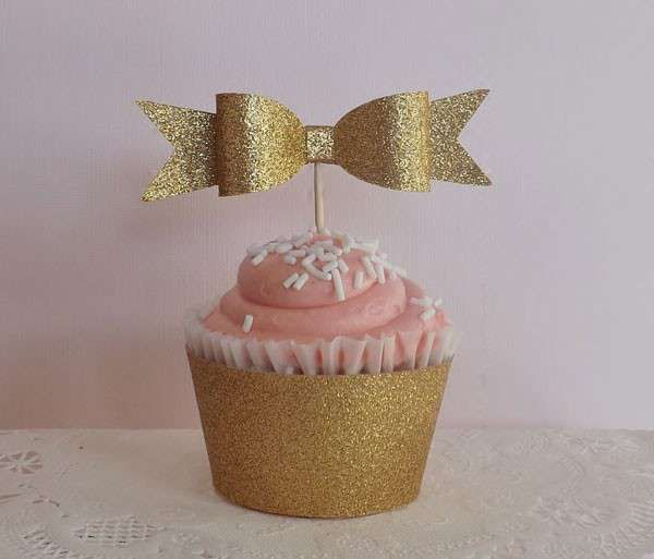 gold bow cupcake topper