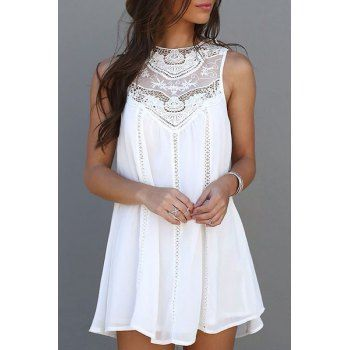 Trendy Style Round Collar Lace Splicing Chiffon Sleeveless Dress For Women (WHITE,M) in Dresses 2015 | DressLily.com