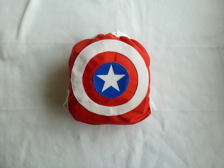 Snap or Velcro One-size Cloth Diaper Cover Captain America Avengers. $16.00, via Etsy.