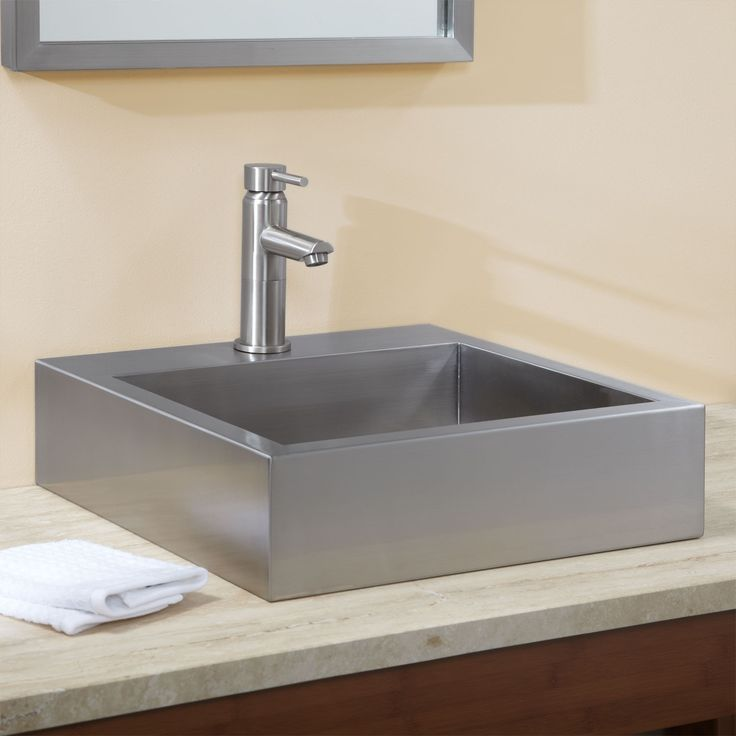 18″ Clarendon Brushed Stainless Steel Square Vessel Sink