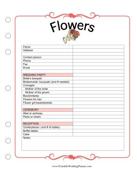 The Wedding Planner Flowers worksheet has plenty of space for you to keep track of all the details involving flowers on your special day. Free to download and print
