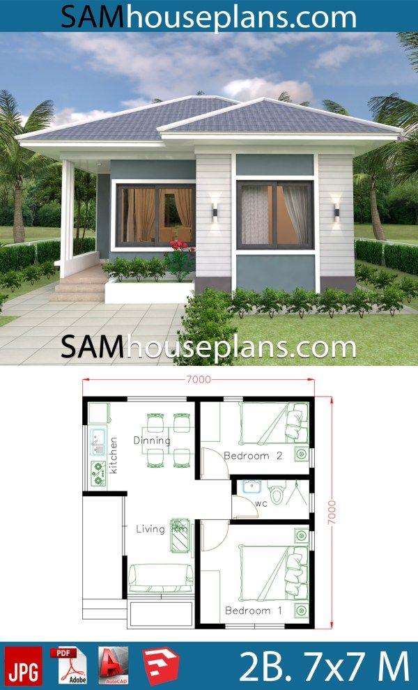 Small House Design Plans 7x7 With 2 Bedrooms House Plans 3d Small House Design Plans House Plans Farmhouse Sims House Plans