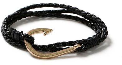 Topman Black Leather Hook Bracelet*