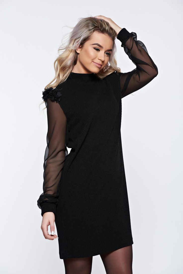 StarShinerS timeless romance knitted black dress with turtle neck with veil sleeves, turtleneck, easy cut, veil sleeves, long sleeves, transparent sleeves, elastic fabric, soft fabric, knitted fabric, Timeless Romance