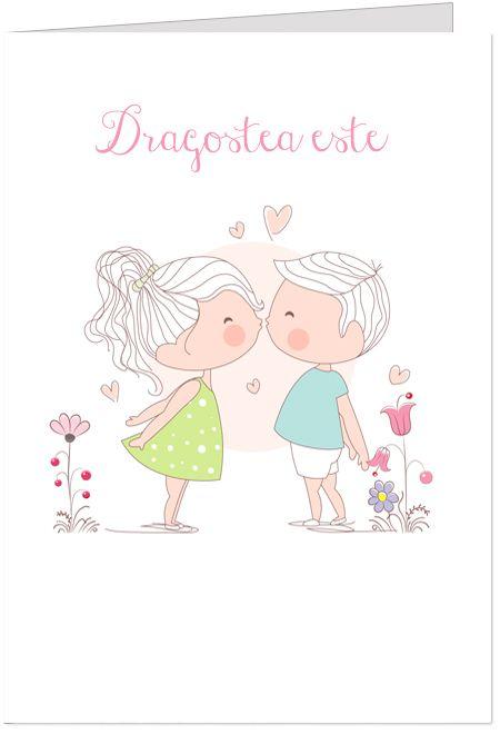 Felicitare romantica personalizabila cu numele indragostitilor, ce reprezinta doi copii.