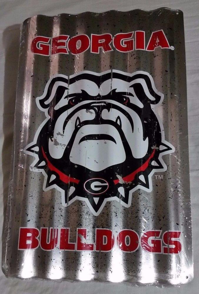 Man Cave Vs Bulldog : Georgia bulldogs corrugated sign football game dorm room