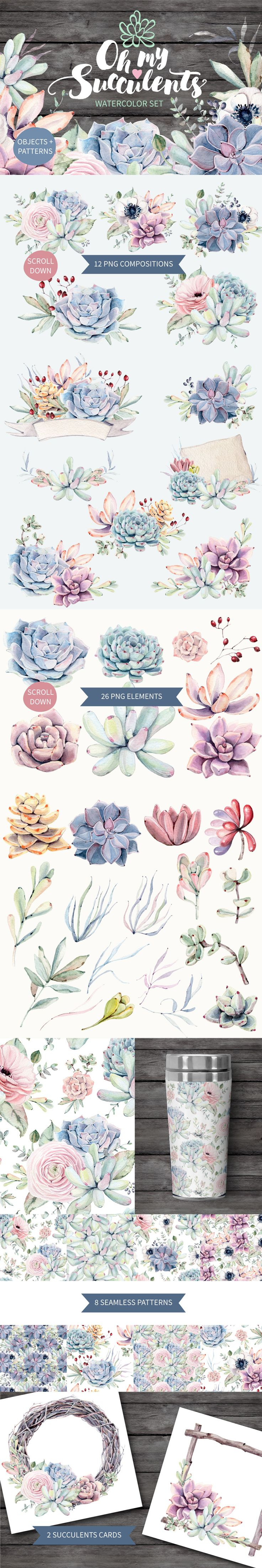 graphics design cute elegant cacti cactus watercolor clip art aqua green Clip Art Wedding Invitation Watercolor Clipart Succulent Plants Pocket Scrapbooking / Project Life / Journaling / Memory Keeping graphic designer stock image invitations PNG