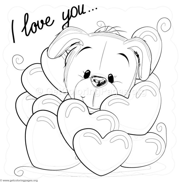 Free Instant Download Valentine I Love You Puppy Coloring Pages Coloring Coloringbook Coloring Puppy Coloring Pages Bear Coloring Pages Love Coloring Pages