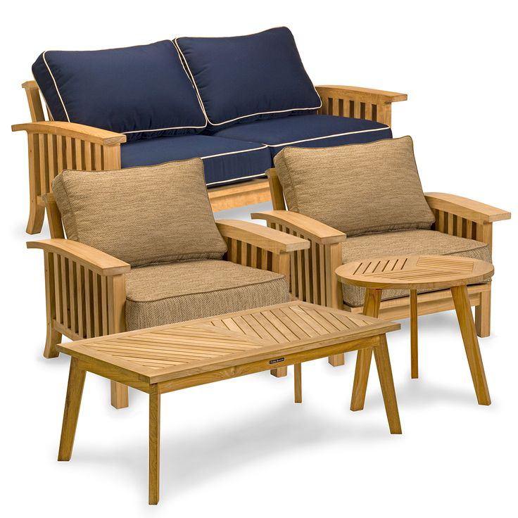 5 Piece Teak Outdoor Lounge Seating Set | Craftsman Collection