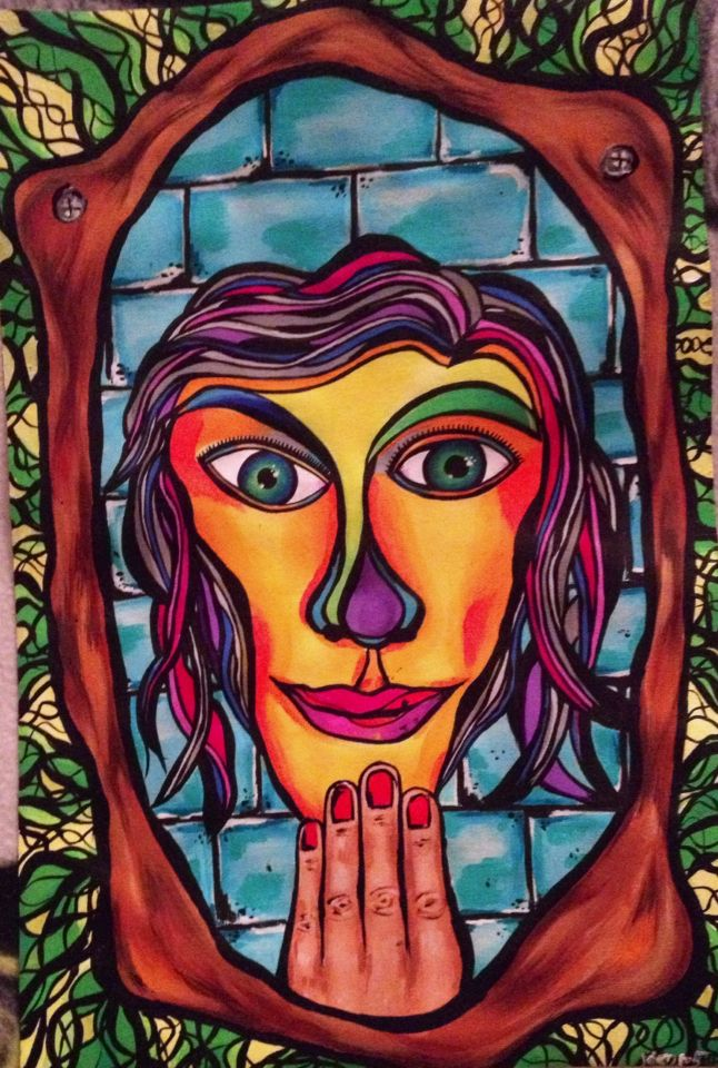 Face in the mirror painting