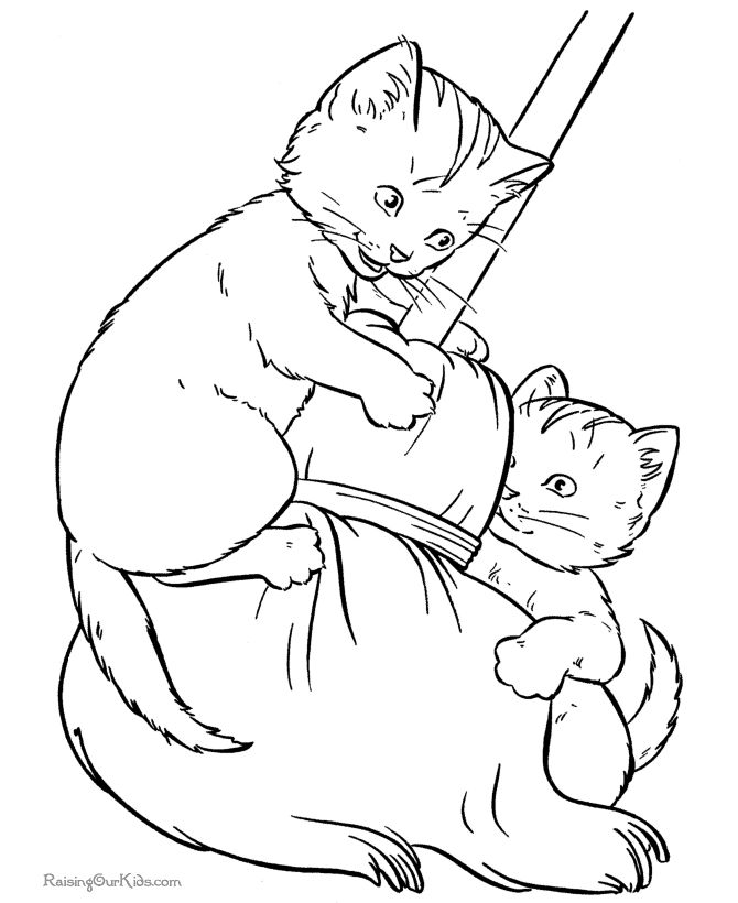 Pet Cat Coloring Pages Kittens Play With A Broom