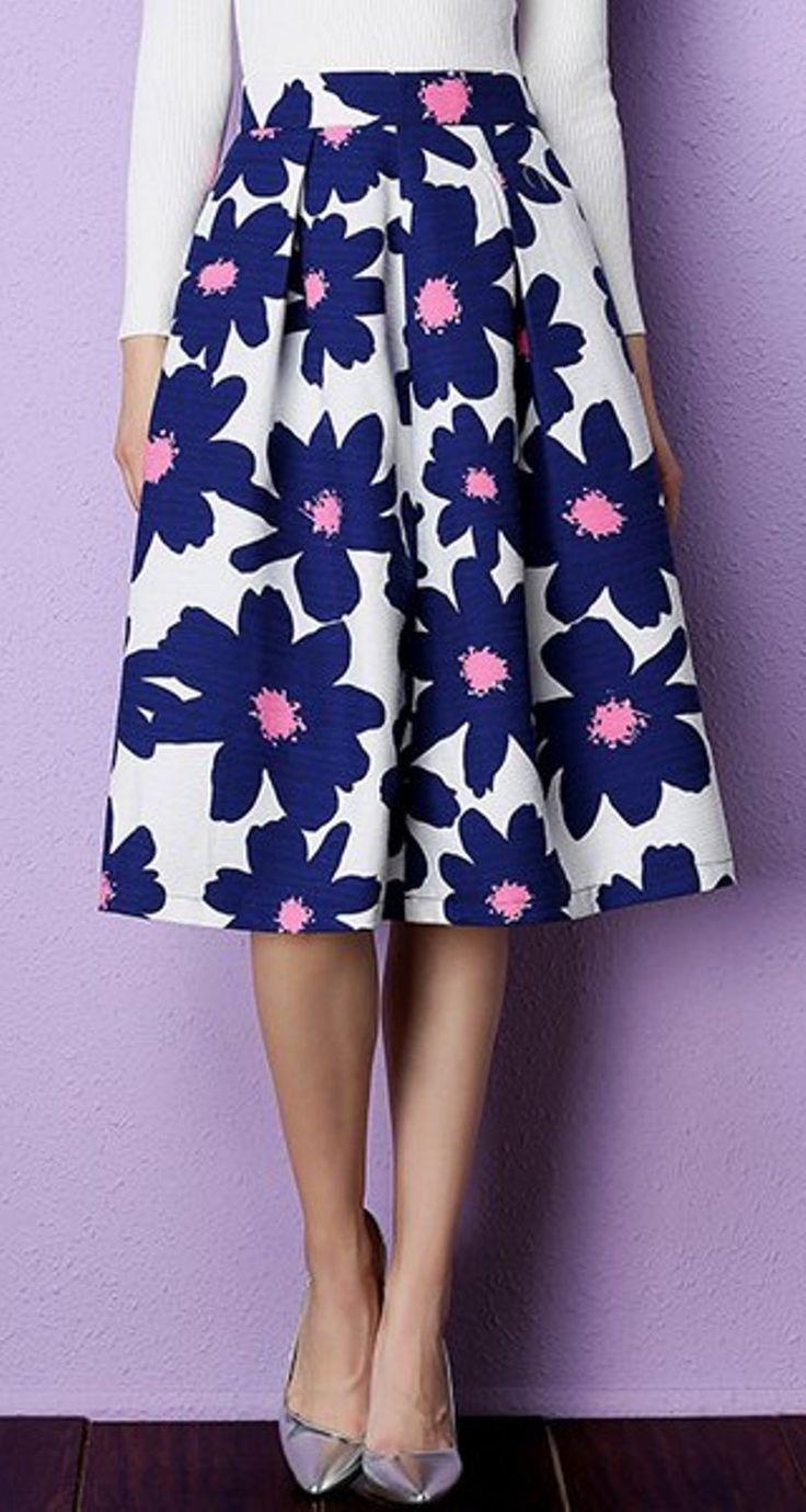Ladylike High Waist Floral Printed Pleated Midi Skirt For Women