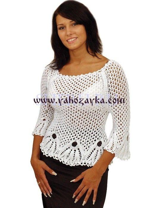 Белая блузка спицами и крючком. Летние модели блузки с схемами   Я Хозяйка