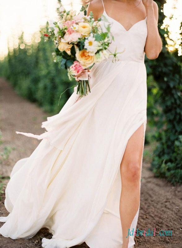 H1403 Romance simple boho beach wedding dress with thin straps