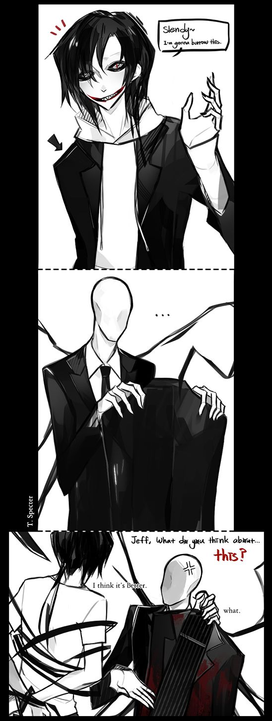 """Jeff The Killer and Slenderman...*sighs* Jeff you know Slender doesn't like it when you take his stuff...even if you tell him...at least wait until he says, """"yes"""""""