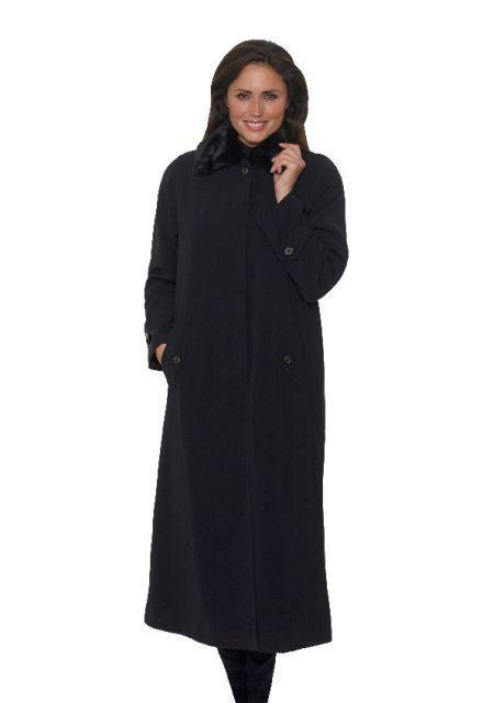 Women's luxury warm raincoat in faux silk detachable faux fur collar satin lining showerproof Black Brown Stone UK10 to Plus sizes