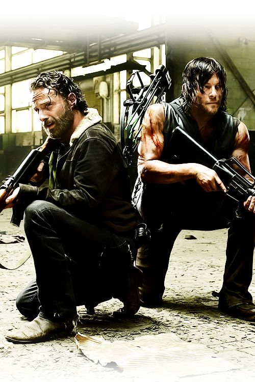 Rick Grimes and Daryl Dixon.  His arms are just ridiculous. <3