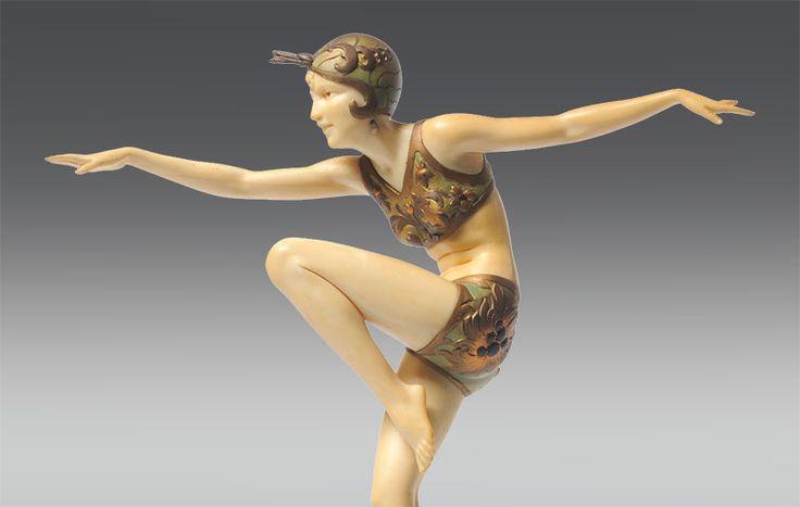 art deco - ferdinand preiss sculture in avorio