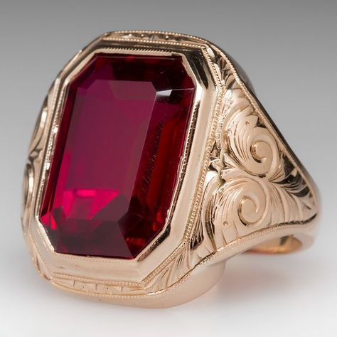 Vintage Created Ruby Bold Mens Ring