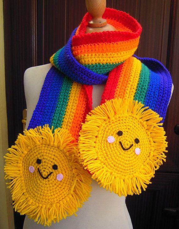 Crochet Rainbow & Happy Sun Amigurumi Scarf