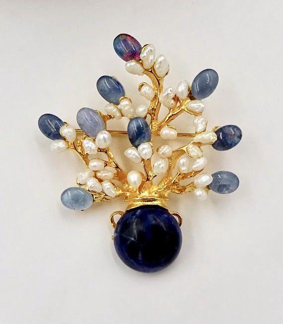 Vintage SWOBODA GEMSTONE BROOCH Gold Opal Pearl Sodalite Vase #ecochic