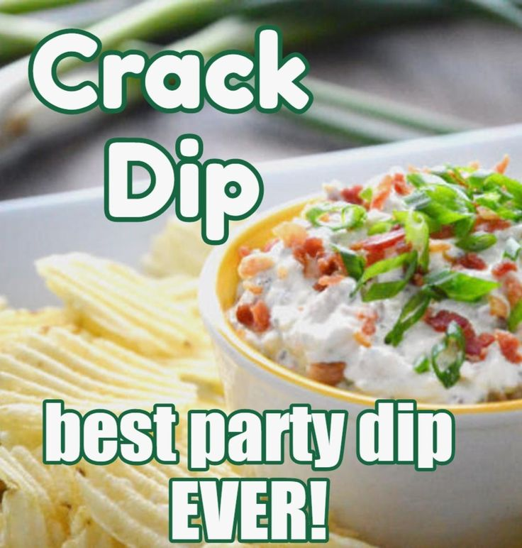 "The BACON in this ""Crack Dip"" party chip dip recipe just makes it all that much better (if that is even possible!) Best dip EVER!"