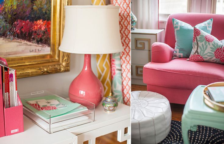 Love this color palate for our new living room: coral/watermelon, mint, gold, gray white.