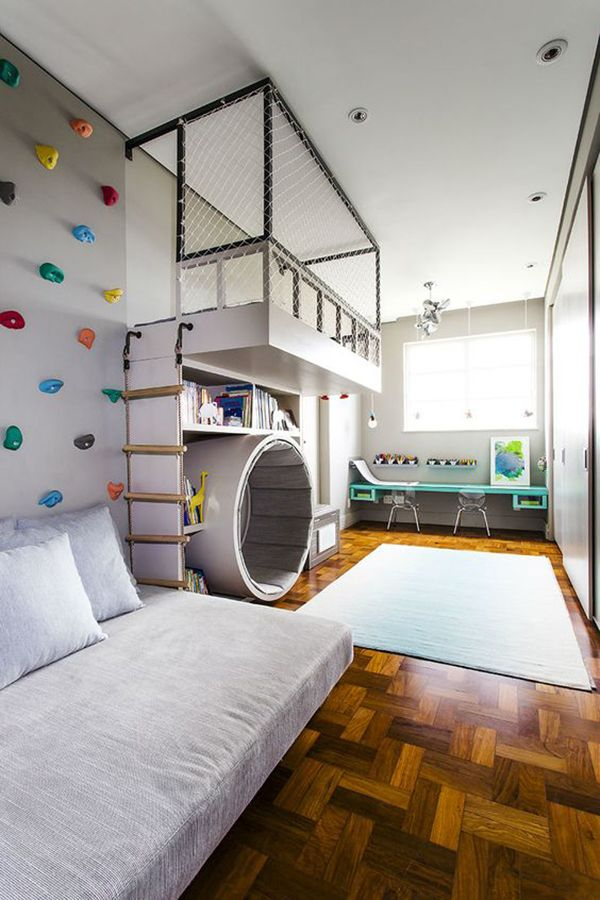 7 quartos infantis com parede de escalada