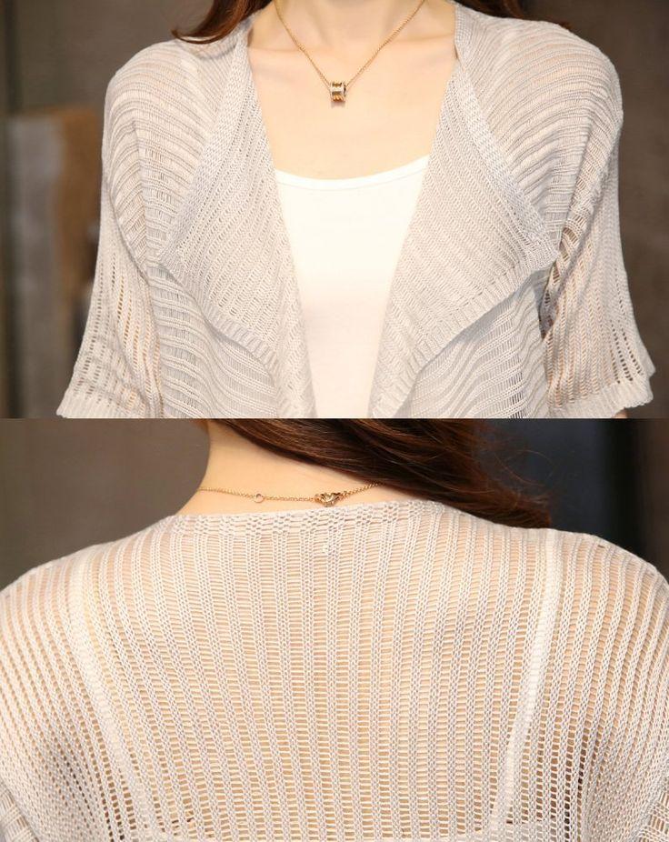 Amazon.co.jp: [Kapua] 透かし 編み トッパー きれいめ 羽織り ロング丈 半袖 カーディガン レディース トップス (FREE,ライトグレー): 服&ファッション小物