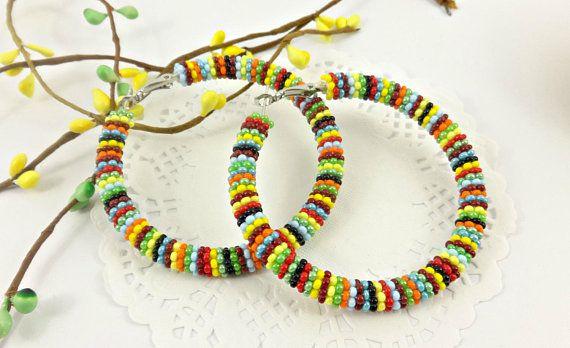 CIJ Seed Bead hoop earrings African Earrings Zulu Earrings
