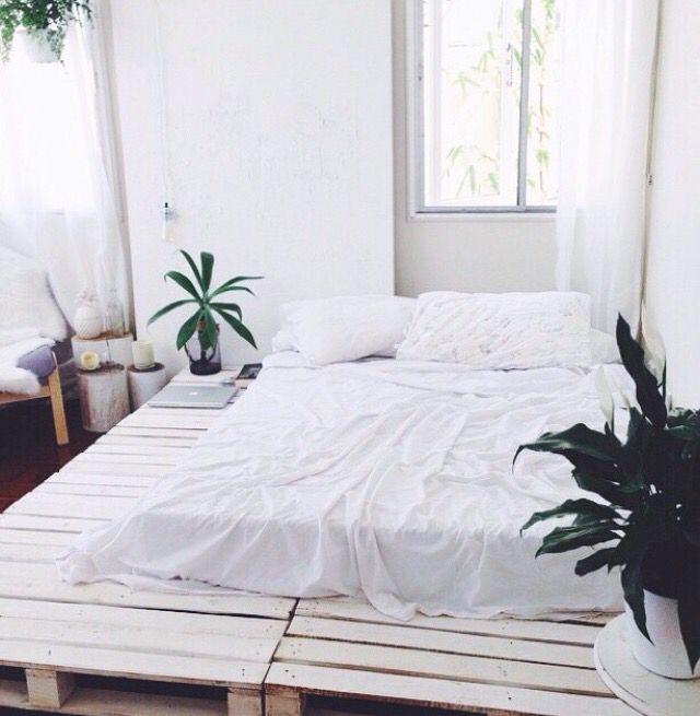 Pallet Bed Indie Boho Tumblr White Diy Bed Bedroom