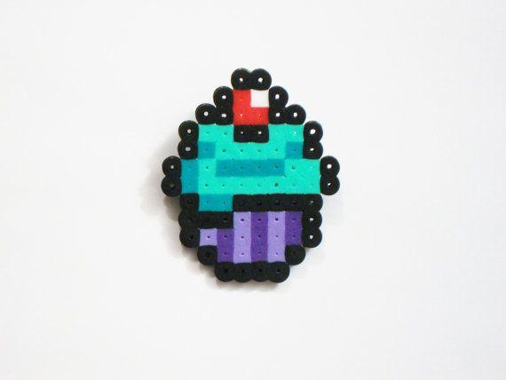 Cupcake with Cherry Pin Purple and Green Sweet Kawaii Perler Beads by Rainbow Moon Shop on Etsy