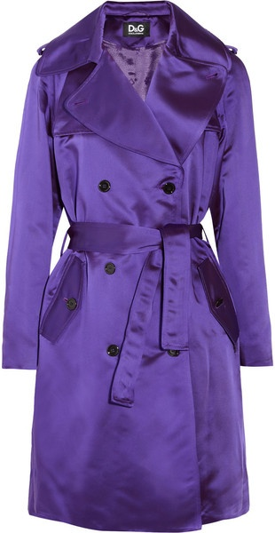 D Satin Twill Trench Coat - Lyst...to top it off,classic with a pop!