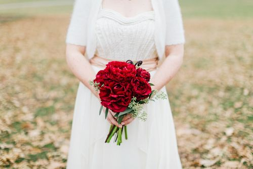 Stunning and simple deep red bridal bouquet, photos by Priya Patel Photography | junebugweddings.com