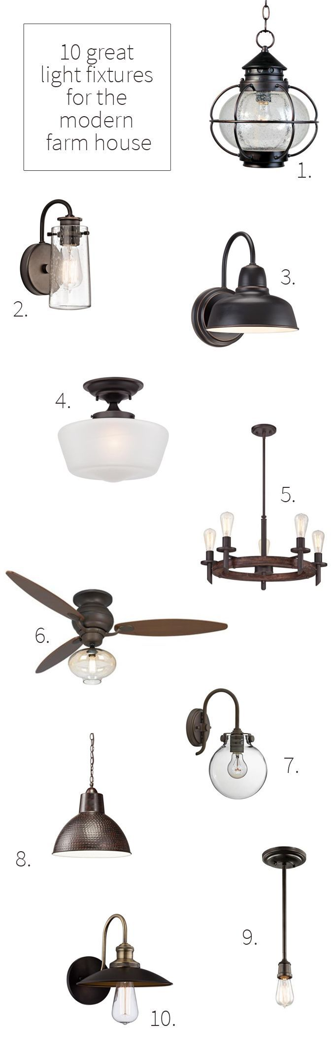 10 great light fixtures for the modern farmhouse