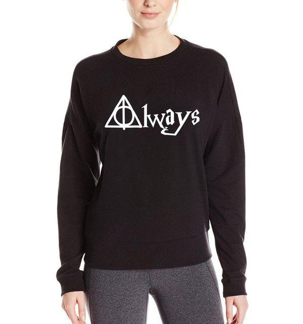 Homme Always Hallows Print 2017 brand Women Sweatshirt funny Jumper Cotton Casual Hoodie Lady Hipster Black hip hop S-XXL