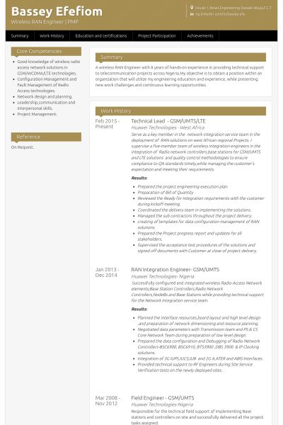 Technical Lead   Gsm\/umts\/lte Resume Example PMP Pinterest   Technical  Technical Lead Resume