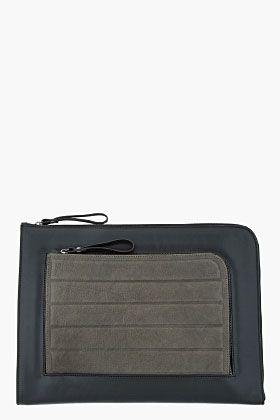 Neil Barrett Black And Olive Leather Laptop Case for men | SSENSE