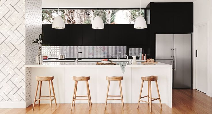 Simply stylish black and white family kitchen
