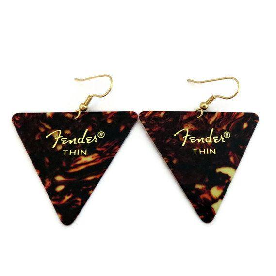 Guitar Pick Earrings, Tortoise Shell Triangle Fender Picks by HausofAriella via Etsy.