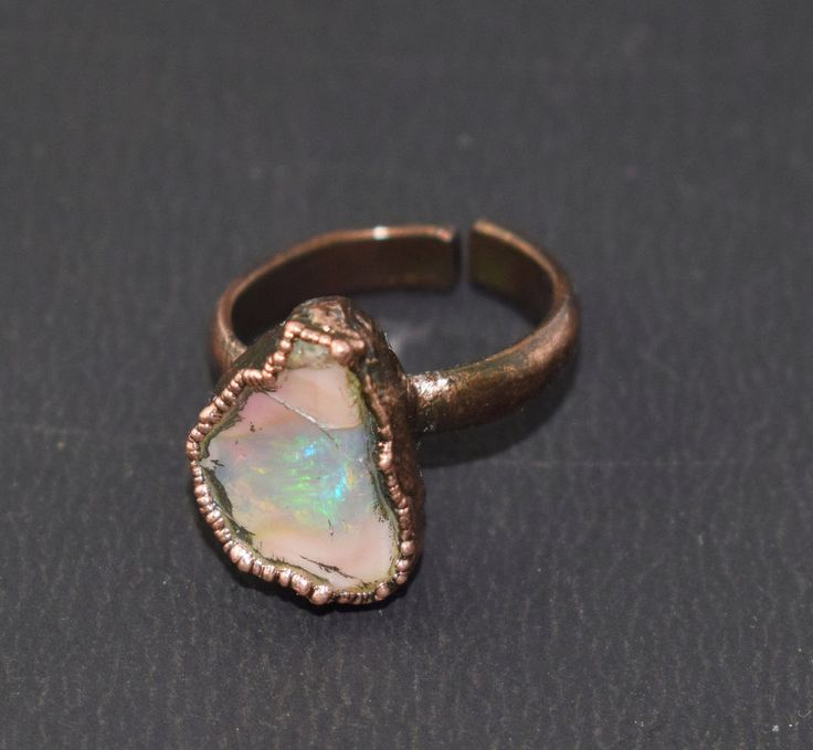 Top Quality Raw Opal Gemstone Electroformed Handmade Adjustable Ring US Size-7 #Handmade #Band