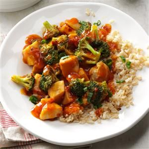 Quick Chicken & Broccoli Stir-Fry Recipe -This Asian stir-fry is a household best bet. The spicy sauce works with chicken, seafood, pork or beef. Add whatever veggies you have on hand. —Kristin Rimkus, Snohomish, WA
