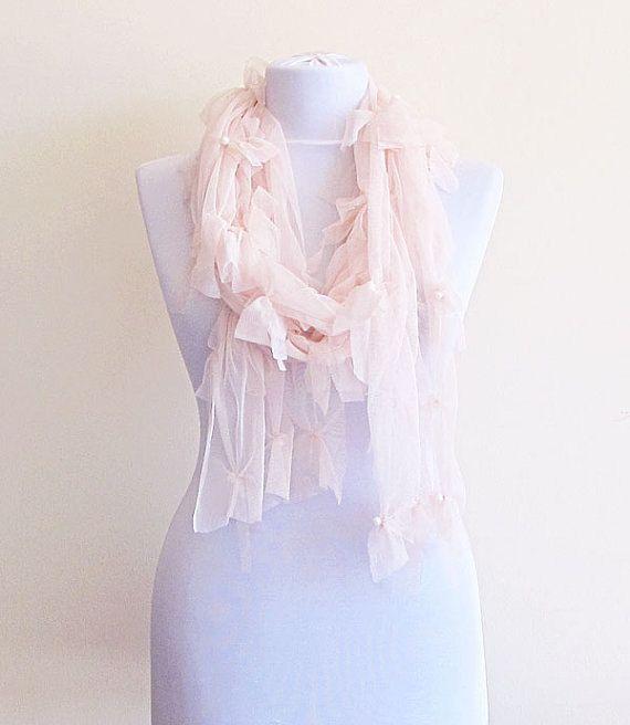 Soft Pink Scarf Peach Bohemian Pink Scarves fashion by aynurdereli